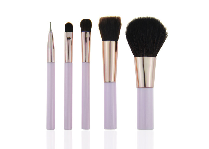 Custom Purple Plastic Handle Mini Makeup Brush Sets With Nylon Hair