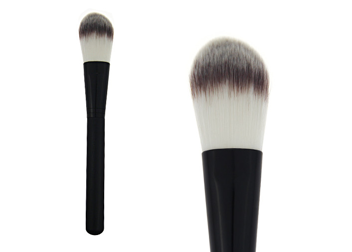 Hot Cosmetic Tool Black  Handle Makeup Foundation Brush With Aluminium