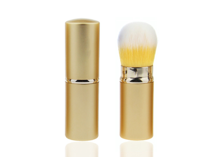 Yellow And White Synthetic Hair Retractable Makeup Brush Set