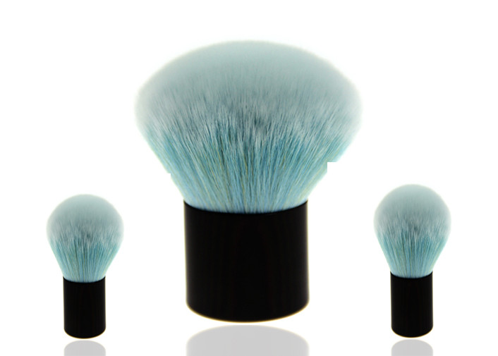 Blue Nylon Hair Fan Cleaning Makeup Brushes With Black Plastic Handle
