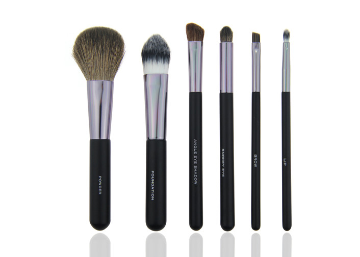 Soft 6 Piece Travel Makeup Brush Set Professional Of Synthetic Hair