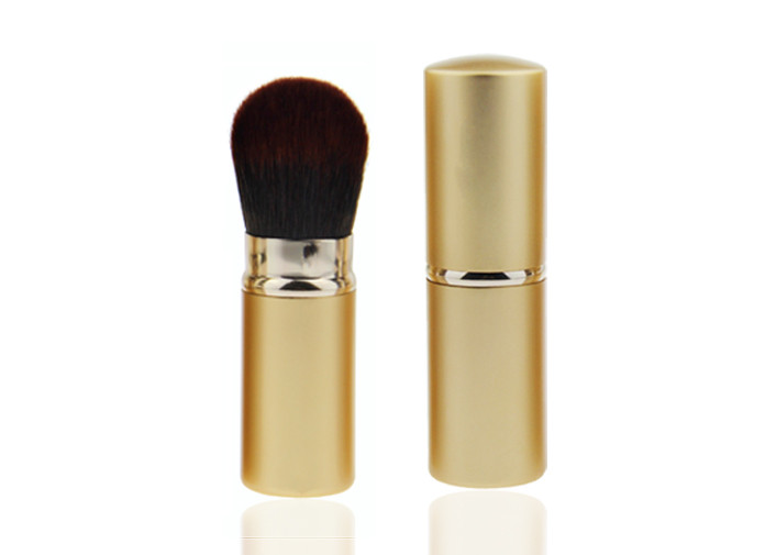 Round Nylon Hair Retractable Makeup Brush For Travel , Facial Foundation Powder Brush