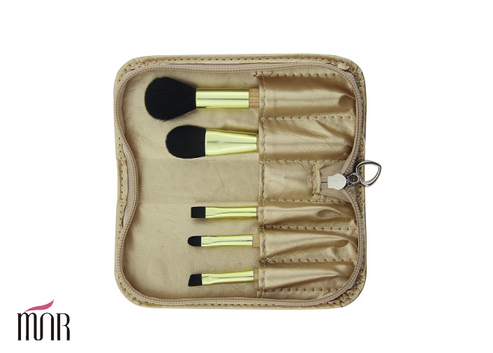 Golden Handle Mini Trave Brush Set With Heart Shape Zipper And Black Nylon Hair